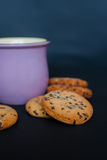 Cookies with a Cup of Tea. Chocolate chip cookies with a Cup of Tea. Selective focus Stock Images