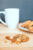 Cookies with a Cup of Tea. Chocolate chip cookies with a Cup of Tea. Selective focus Stock Image