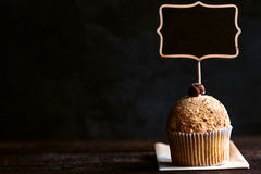 Cookies cupcake and chalkboard Royalty Free Stock Photos