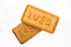 Cookies with the currency symbols. Cookies with the currency symbols dollar, euro on the white background Stock Photo