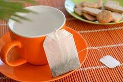 Cookies da água quente do copo do saquinho de chá na planta verde da placa imagem de stock