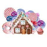 Cookies da casa de pão-de-espécie e do homem de pão-de-espécie Ilustração do vetor Fotografia de Stock