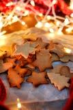 Cookies da estrela do Natal Fotografia de Stock Royalty Free
