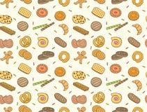 Cookies da garatuja e teste padrão sem emenda do biscoito Fotos de Stock
