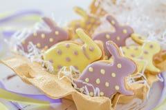 Cookies da Páscoa no suporte do ovo Fotografia de Stock Royalty Free