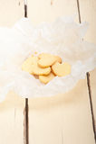 Cookies dadas forma coração do Valentim do biscoito amanteigado Imagem de Stock Royalty Free