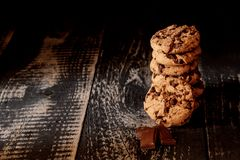 Cookies on dark background. stock images