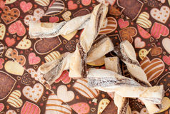 Cookies on dark napkin with image of hearts Stock Image