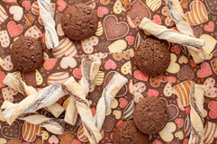 Cookies on dark napkin with image of hearts Stock Images