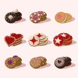 Cookies de ícones do alimento do vetor dos desenhos animados Fotografia de Stock Royalty Free