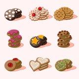 Cookies de ícones do alimento do vetor dos desenhos animados Fotos de Stock Royalty Free