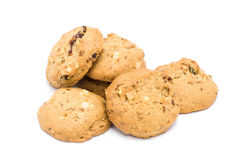 Cookies de amêndoa no fundo branco imagens de stock royalty free