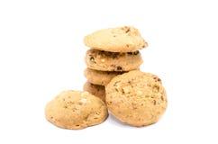 Cookies de amêndoa no fundo branco fotografia de stock royalty free