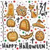 Cookies de Dia das Bruxas símbolos de Halloween jogo Imagem de Stock