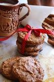 Cookies de farinha de aveia caseiros em uma bandeja do metal imagem de stock