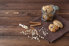 Cookies de farinha de aveia, close-up Foto de Stock Royalty Free