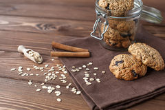 Cookies de farinha de aveia, close-up Fotos de Stock Royalty Free