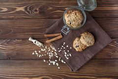 Cookies de farinha de aveia, close-up Imagem de Stock Royalty Free