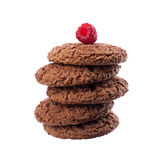 Cookies de farinha de aveia com fruto de sobremesa da framboesa Imagem de Stock