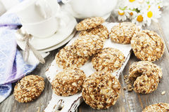 Cookies de farinha de aveia com passas fotografia de stock