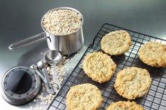 Cookies de farinha de aveia na cremalheira refrigerando Foto de Stock