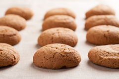 Cookies de farinha de aveia na toalha de mesa de serapilheira Imagens de Stock Royalty Free