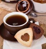 Cookies de Hamantash da baunilha e do chocolate Fotos de Stock Royalty Free