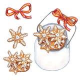 Cookies de Hristmas no frasco isolado no fundo branco ilustração stock