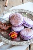 Cookies de Macaron em uma placa Fotos de Stock