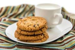 Cookies de passa da farinha de aveia e copo do leite Imagens de Stock Royalty Free