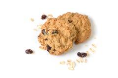 Cookies de passa da farinha de aveia no fundo branco Fotos de Stock