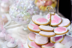 Cookies decorated with flowers and butterflies Royalty Free Stock Photography