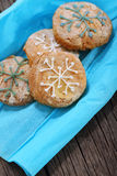 Cookies decorated with snowflakes Royalty Free Stock Images