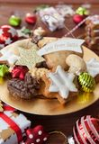 Cookies and decorations for christmas. Delicious cookies and cheerful decorations for a merry christmas Royalty Free Stock Photography