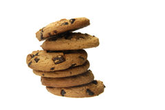 Cookies. Delicious chocolate cookies isolated on the white background Royalty Free Stock Images