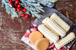 Cookies. Delicious home made  christmas cookies  on wooden background Royalty Free Stock Image