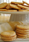 Cookies delicious home made vanilla sugar cookies on pedestal cake plate Stock Images