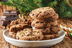 Cookies. Delicious homemade biscuits with chocolate pieces Royalty Free Stock Image
