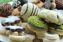 Delicious homemade cookies with different types stock photography