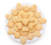 Cookies with different shapes on plate Royalty Free Stock Photos