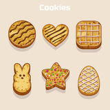 Cookies in different shapes set Royalty Free Stock Images