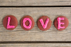 Cookies displaying love message Stock Photography