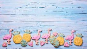 Cookies do ananás do flamingo Imagens de Stock Royalty Free