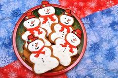 Cookies do ano novo e do Natal do homem da neve Fotografia de Stock Royalty Free