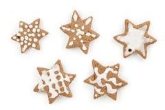 Cookies do cacau do gengibre do Natal feitas por um grupo da criança de cinco Imagens de Stock