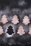 Cookies do gengibre no açúcar pulverizado Fotografia de Stock