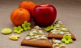 Cookies do Natal com tangerinas imagens de stock