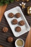 Cookies do Natal do chocolate Fotos de Stock