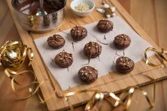 Cookies do Natal do chocolate Fotografia de Stock