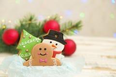 Cookies do Natal em uma caixa com presentes, luzes e ramos do abeto na tabela de madeira do vintage branco Efeito da neve, bokeh Imagens de Stock